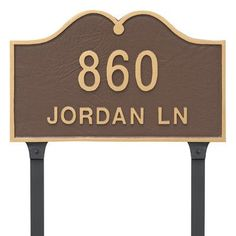Montague Metal Products Hillsdale Arch Standard Two Line Address Plaque with Lawn Stakes Finish: Black/Silver