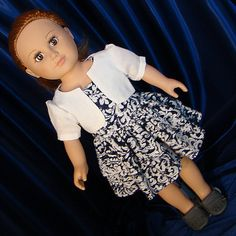 "Blue & White Dress w Bolero Jacket; 18"" Doll Outfit; for American Girl Style 18"" Dolls! School n Dress Up Doll Clothes."