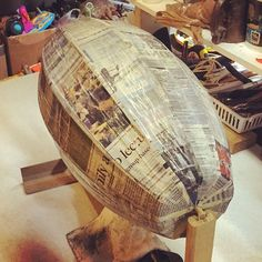 I love the smell of wet newspaper in the evening...smells like... #airships ! #steampunkairship #repurposedart #papermache #makersgonnamake #stephanjsmith #artsmithcraftworks #drsteampunk #somethingnew #flintsteampunk