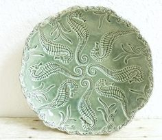 Ceramic Serving Bowl Plate with Seahorses Decorative Handcrafted Pottery Dish Ocean Design