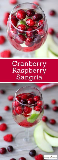 Cranberry Raspberry Sangria made with white wine and raspberry liqueur is an easy and elegant cocktail drink recipe for a party. Great recipe for a Christmas Holiday party! LivingLocurto.com