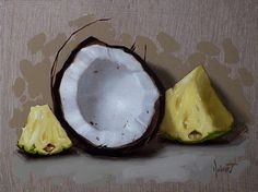coconut and pineapple – oil painting – still life – by Clinton Hobart.