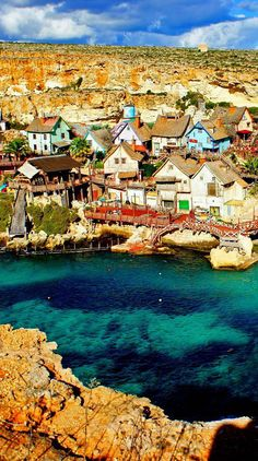 Popeye Village Anchor Bay in Mellieha - Malta. More on Mellieha - http://bit.ly/1hwUYQC