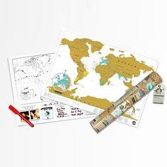 Rubbel-Weltkarte im Reiseformat - Geschenke von Geschenkidee