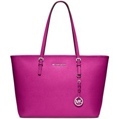 MICHAEL Michael Kors Jet Set Zip-Top Tote Bag ($222) ❤ liked on Polyvore featuring bags, handbags, tote bags, purses, fuchsia, zipper tote, saffiano leather tote, hand bags, tote purses and zip top tote bag