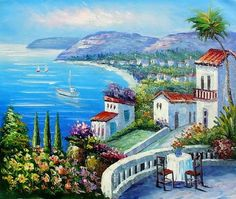 Balcony View - Hand Painted Oil on Canvas