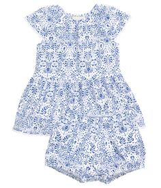 BABY EXCLUSIVE. Dress and puff pants in soft, patterned jersey in a cotton and modal blend. Dress with elasticized neckline, short puff sleeves, flounce at hem, and decorative lace trim at cuffs and hem. Pants with elasticized waistband and elasticized hems. Cotton content in set is organic.
