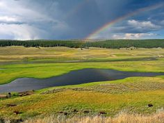 Hayden Valley rainbow Yellowstone National Park by ChicagoBob46