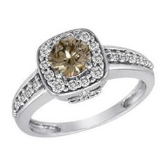 1 CT. T.W. Enhanced Fancy Champagne and White Diamond Squared Frame Ring in 14K White Gold - View All Rings - Zales