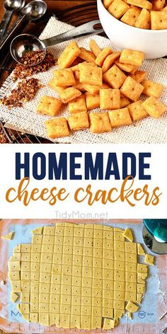 Homemade Crackers, Homemade Cheese, Party Crackers Recipe, Homemade Cheez Its, Healthy Crackers, Baby Food Recipes, Snack Recipes, Cooking Recipes, Family Recipes