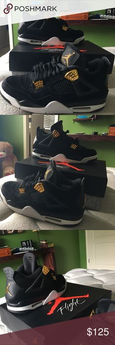 Jordan 4 royaltys All black an gold shoes with gold lace locks Jordan Shoes Athletic Shoes