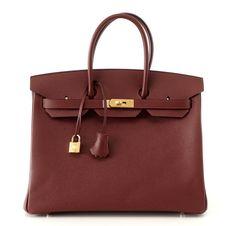 Hermes Birkin 35 bag Limited Edition Rouge H Contour has Navy edging