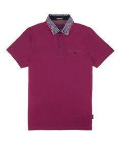 Leopard print collar polo top - Pink  f03a0cd5390ea