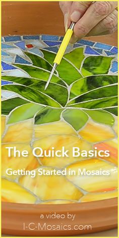 These are the quick basics to make your first experience in mosaics easy & fun. They will help you make decisions about all of the great options for using your creativity. http://www.i-c-mosaics.com/education/the-basics-getting-started-in-mosaics.html