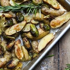 <p>Here's another recipe for brussels sprouts, this time with the addition of roasted fingerling potatoes, rosemary and garlic. </p>