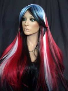 Red White Mixed Cosplay Long Straight Full Wig