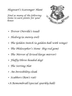 how to make a harry potter themed scavenger hunt