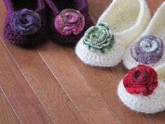 Oma House SlippersWith Crochet Rose Hannahs by HannahsHomestead2, $18.00