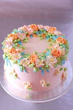 """""""Spring"""" cake with buttercream flowers - cake by La Zina Cakes - CakesDecor Buttercream Decorating, Cake Decorating Designs, Cake Decorating With Fondant, Birthday Cake Decorating, Cake Designs, Decorating Ideas, Birthday Cake With Flowers, Pretty Birthday Cakes, Pretty Cakes"""
