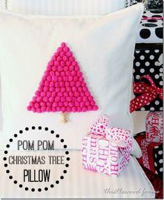 DIY Pom-pom Pillow Christmas tree