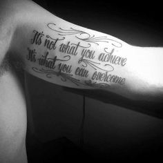 100 Inner Bicep Tattoo Designs For Men - Manly Ink Ideas Black Quote Tattoo Men Inner Biceps Cs Lewis, Small Tattoos With Meaning, Small Tattoos For Guys, Tattoos For Women, Tattoos Verse, Tattoo Quotes For Men, Family Quote Tattoos, Family Tattoos For Men, Bicep Tattoo Men