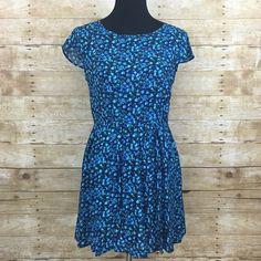 "Blue floral dress NWOT, measurement waist 28"" bust 36"" length 30"" super cute floral design Timing  Dresses Mini"