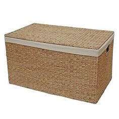 Wicker Trunk Chest Lined Laundry Basket Toy Storage Bedroom Hall Water Hyacinth Wicker Storage Trunk, Wicker Trunk, Linen Storage, Toy Storage, Bedroom Storage, Storage Baskets With Lids, Hamper Basket, Painted Wicker, Trunks And Chests