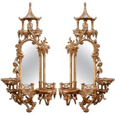 Pair of 19th c. Chinoiserie Mirrors | From a unique collection of antique and modern wall mirrors at http://www.1stdibs.com/furniture/mirrors/wall-mirrors/