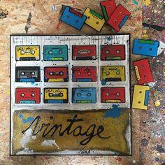 Nouveau collage! K7 de format 50x50 cm. #collage #newpopart #contemporaryart  #sophiecosta #instaart #artforsale #colors #music