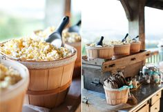 A charming popcorn bar at this outdoor wedding reception Caitlin Sheffer Photography