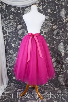Hot Pink Tulle Skirt With Ribbon Waistband - Adult Tea Length Fuchsia Tutu - Midi Skirt - Custom Siz Pink Tulle Skirt, Pink Tutu, Tulle Fabric, Tulle Skirts, Blue Jean Wedding, Jeans Wedding, Tea Length Skirt, African Dress, Dress Me Up
