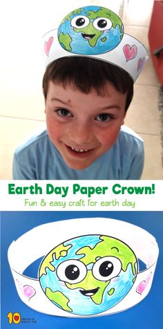 Printable Earth Day Paper Crown for Kids Earth Day Projects, Earth Day Crafts, Fun Projects, Nature Crafts, Earth Day Activities, Creative Activities, Activities For Kids, Reading Activities, Earth For Kids