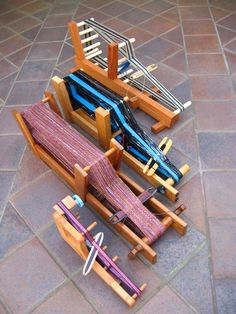 Meet my family of inkle looms! Ashford Inklette - The cutest of inkle looms. I like this one because it is small enough to . Inkle Weaving Patterns, Weaving Loom Diy, Weaving Tools, Inkle Loom, Card Weaving, Weaving Textiles, Weaving Projects, Types Of Weaving, Peg Loom
