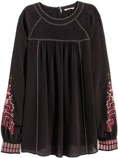 H&M Embroidered Blouse - Black