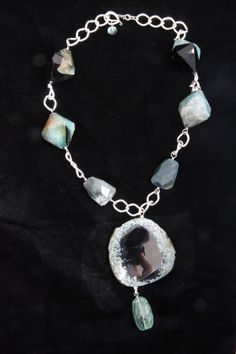 Fluorite Green Agate Necklace  by Phyllis Clark Designs Contemporary Jewelry