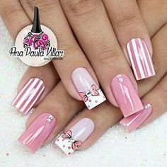 New Best Nail Design Ideas To Get A New Look - Page 24 of 71 - ladynailpolish Nail Manicure, Toe Nails, Pink Nails, Bow Nail Art, Nail Art Stripes, Kathy Nails, Disney Nails, Pretty Nail Art, Gorgeous Nails