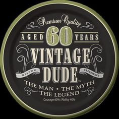 Creative Converting Vintage Dude 60th Birthday Dessert Plates Set Of 8