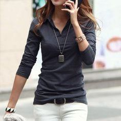 Polo Collar Long Sleeves Solid Color Casual T-Shirt For Women (DEEP GRAY,M) | Sammydress.com Mobile