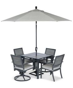 """Marlough Outdoor Aluminum 5-Pc. Dining Set (36"""" Square Dining Table, 2 Dining Chairs and 2 Swivel Rockers)"""