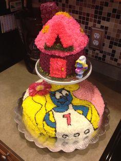 Smurfette cake homemade. DIY cake