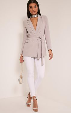 Rebecca Light Grey Belted Blazer - Coats & Jackets - PrettylittleThing | PrettyLittleThing.com