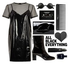 """Monochrome: All Black Everything"" by leslee-dawn ❤ liked on Polyvore featuring River Island, Courrèges, Bershka, CASSETTE, Sephora Collection, Lipstick Queen, monochrome, black, allblack and vinyl"