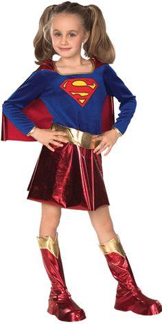 Een compleet supergirl kostuum voor meisjes. Dit supergirl kostuum bestaat uit een jurk met cape, riem en laarzen. Met dit kostuum word u kleine meisje een echte superheldin!