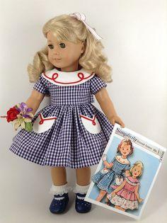 RESERVADO para CG  1950 de comprobado vestido en azul