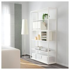IKEA - FJÄLKINGE, Shelf unit, , The long, slender shelves give the shelving unit a light and airy look. And the clean, simple lines make it easy to combine with many styles of furniture.The shelving unit is strong and durable because it's made of steel.You can easily change the height according to your storage needs as the shelves are adjustable.