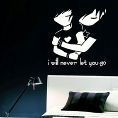 Large Teenage Bedroom Wall ART Sticker EMO Love Never LET Stencil Transfer Decal | eBay