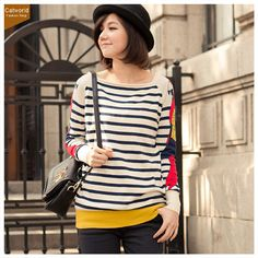 Catworld Contrast Cross-Cut Striped Knitwear