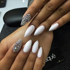 Laque Nail Bar | White Almond Shape Acrylic Nails w/ Rhinestones