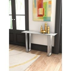 The ideal piece to complete your elegant entryway or living room is the Zuo Modern Contemporary Atlas Console Table . A metal double pedestal base is. Marble Console Table, Console Tables, Metal Furniture, Furniture Outlet, Online Furniture, Target, Modern Dining Table, Brushed Stainless Steel, Modern Contemporary