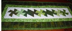 Twisted Table Runner in Green by Donna Schuttig Quilts Online, Quilts For Sale, Quilt Making, Table Runners, Rugs, Holiday Decor, Green, Home Decor, Farmhouse Rugs